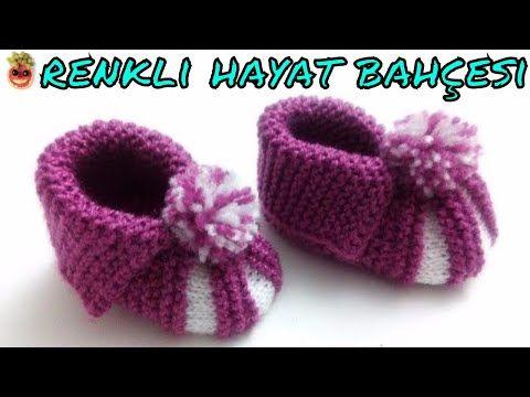 Karpuz Dilimli Bebek Patiği Nasıl Yapılır? - örgü modelleri bebek - bebek patikleri yapılışı - YouTube