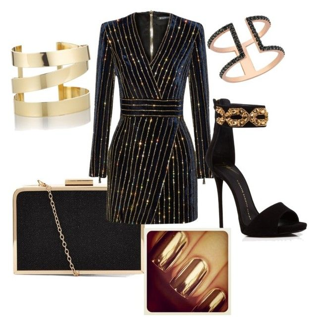 """Gold and black cocktail dress"" by taniamin on Polyvore featuring Balmain, Giuseppe Zanotti, Amorium and Étoile Isabel Marant"