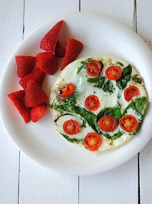 Spinach and Egg White Omlette  #jumpstartyourday #womenshealthmag #americaneggboard