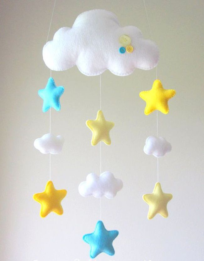 Nuvens Em Feltro Crafts Star Mobile Baby Crafts E Baby