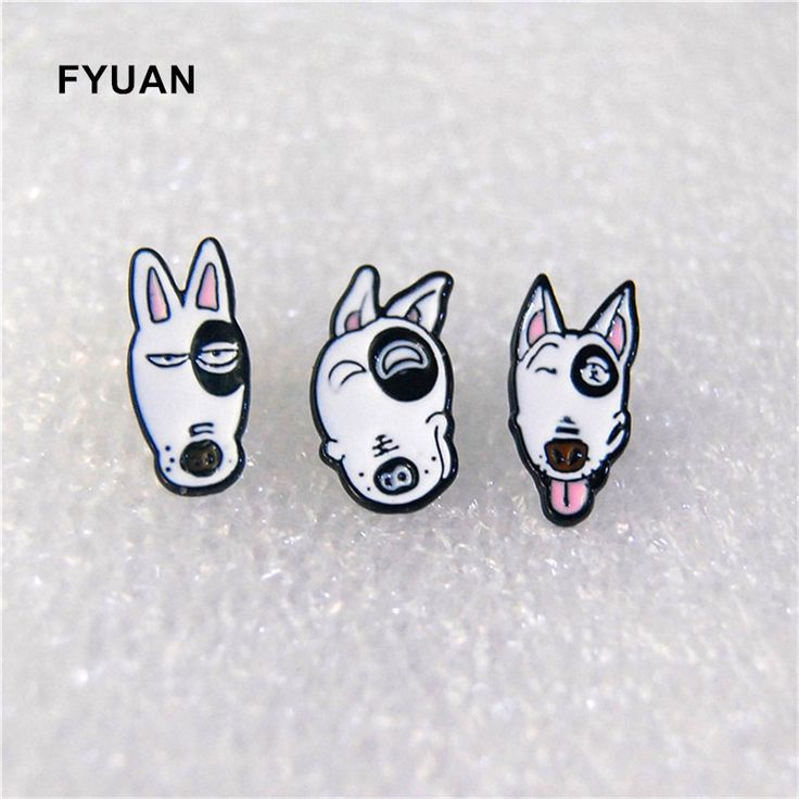 New Cartoon 3 Expression Bull Terrier Dogs Animal Stud Earrings Women Girl Gift Jewelry Accessories