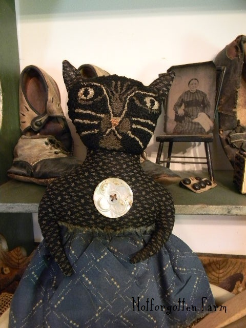 """Sarah"" a Primitive Folk Art Doll ~ Cat Head ~ Punch Needle EHAG | eBay"