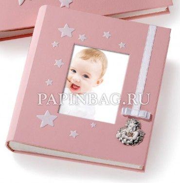"""Фотоальбом для новорожденного """"Angelo"""" (Luxury), (с фоторамкой и листами для записей), для девочки, Италия, серебро"""