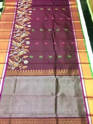 Brown Nature Design Exclusive Handwoven Pure Silk Saree Silk Sarees on Shimply.com