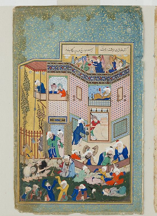 """""""Allegory of Worldly and Otherworldly Drunkenness"""", Folio from the Divan of Hafiz Painting by Sultan Muhammad (active first half 16th century) Date: ca. 1531–33 Geography: Iran, Tabriz Medium: Opaque watercolor, ink, and gold on paper Dimensions: Illuminated folio: Painting: H. 8 1/2 in. (21.6 cm) W. 5 15/16 in. (15.1 cm) Page: H. 11 3/8 in. (28.9 cm) W. 7 1/8 in. (18.1 cm) Metropolitan Museum of Art 1988.430"""