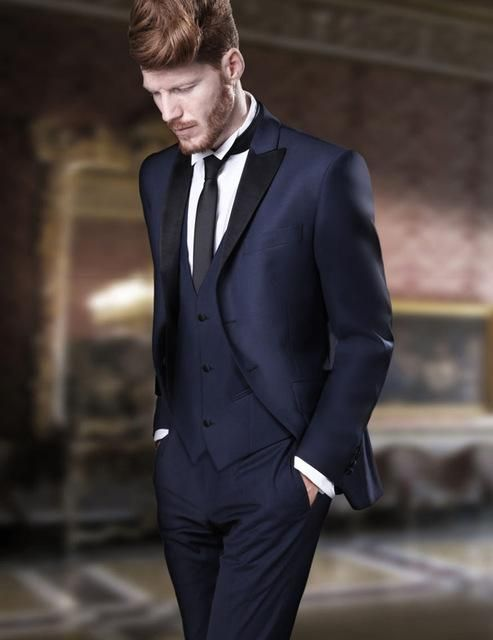 bede50bc32f7 2018 Tailored Navy Blue Paisley Floral Tuxedo For Men Wedding Suits Slim  Fit 3 Piece Custom Made Prom Blazer Terno Masculino