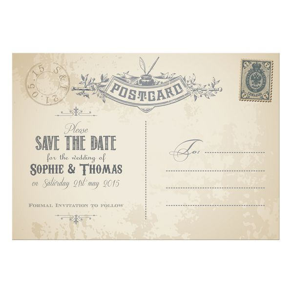 Vintage Postcard Wedding Invitation | Wedding Invitations