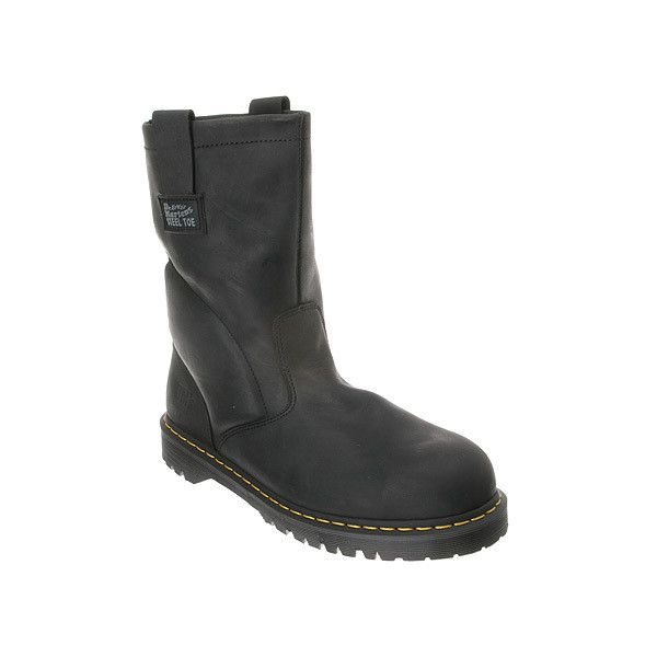 Dr. Martens 2295 ST Rigger Boot Extra Wide Boots ($135) ❤ liked on Polyvore featuring men's fashion, men's shoes, men's boots, men's work boots, black industrial greasy, mens steel toe work boots, mens black work boots, mens wide work boots, mens black slip on boots and mens long boots