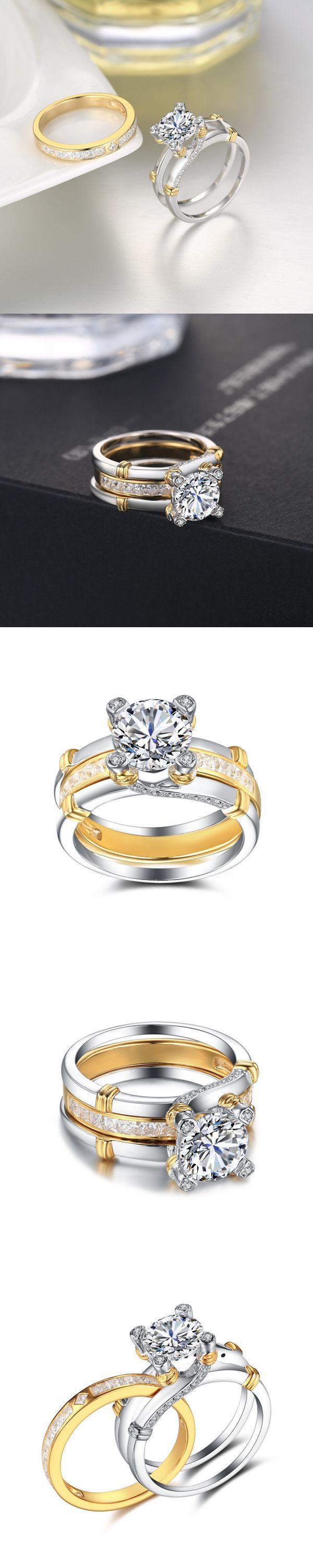 Lajerrio Jewelry Round Cut White Sapphire Gold S925 Ring Sets