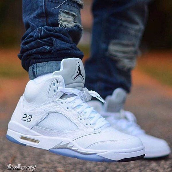 "RETAIL PRICE: Nike Air Jordan 5 Retro ""Metallic Silver""  Click link in profile to shop  Available at kickbackzny.com."