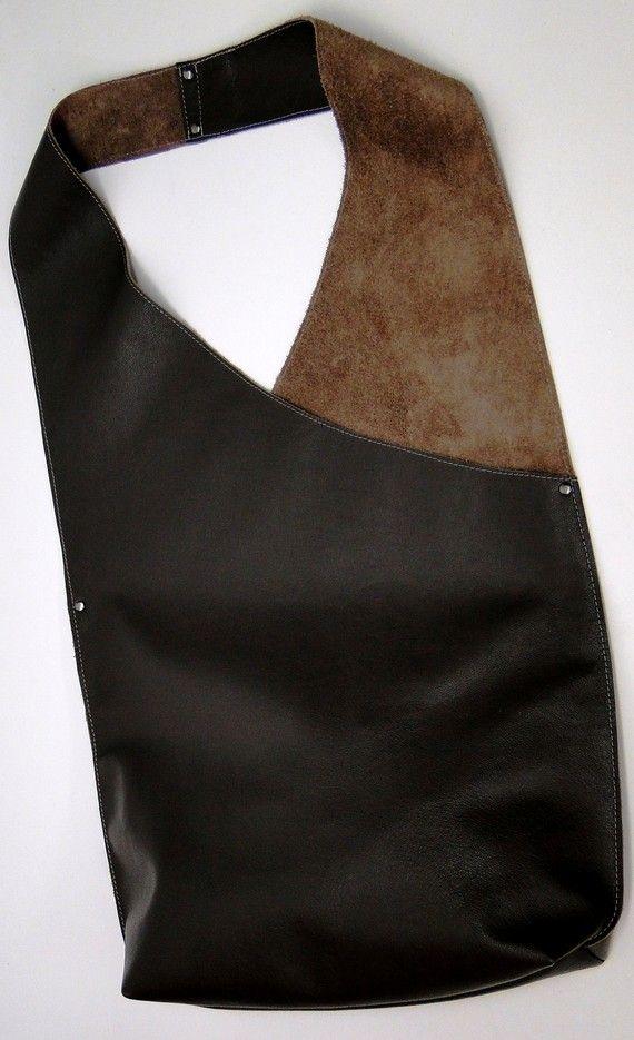 Shoulder Handbag Handmade In Leather Dark by JPRESTONHANDBAGS