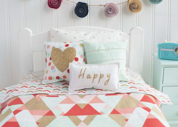 doll bedding mint and coral gold bedding set 18 inch doll