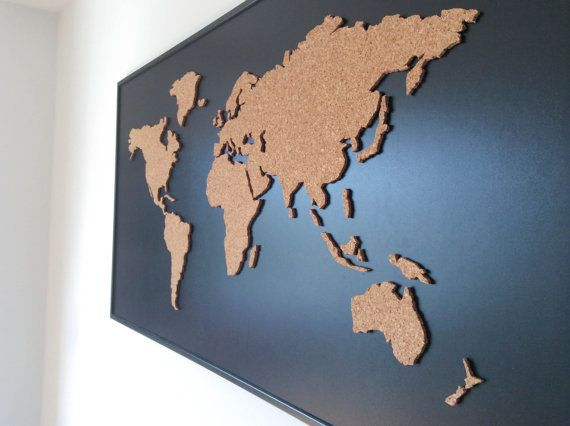 Document your past or future travels with this handmade cork world map. It is a great addition to your home and is the stand out point in any room. Not only it looks awesome, it is also great for educational purposes and it is a must have for any globetrotter who wants to show off his travels, road trips and adventures. Each map is handmade from natural brown cork and is custom framed. Cork world map is securely glued on 120 x 60 cm (47 x 23.6 inch) hardboard, framed with an elegant frame…