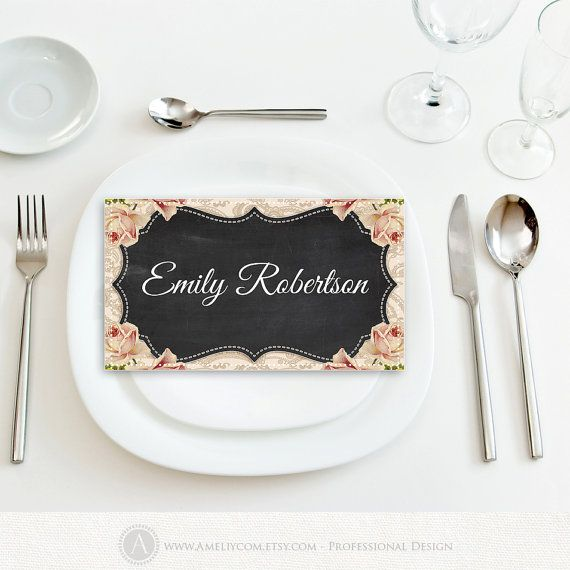 Printable Place Card Wedding Chalkboard & Cream Rose Instant Download DIY EDITABLE PlaceCard Template, Escort Cards, Tent…