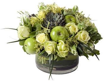 flower arrangement   roses   succulents   fruit   apples   cream   green