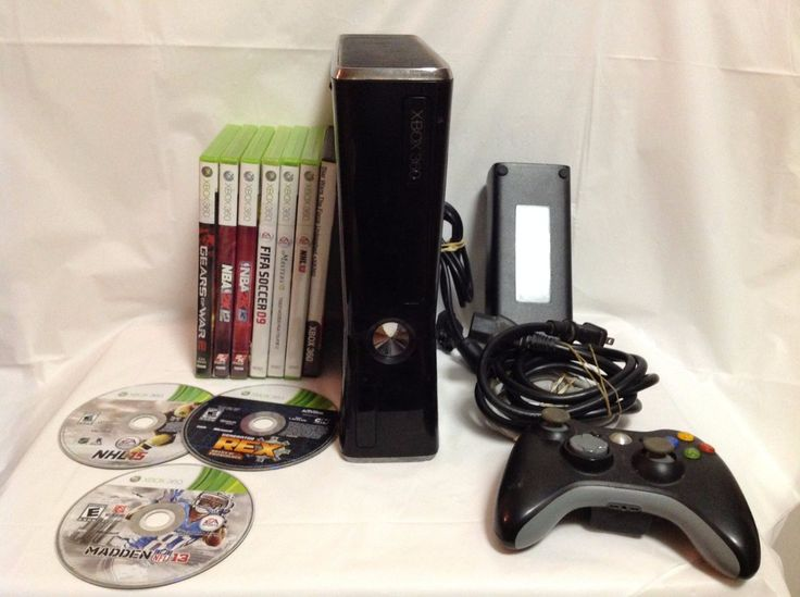 Xbox 360 S Slim 4GB Black System Console Bundle w/ 10 Games & Controller  9D