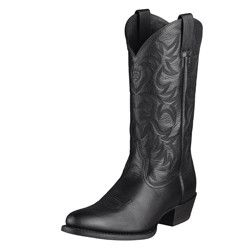 Heritage R Toe Black Men's Western Cowboy Boots by Ariat