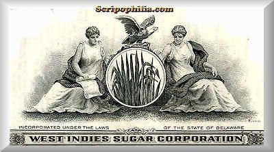 scripophilia scripophily - West Indies Sugar two stock Oliva e Green