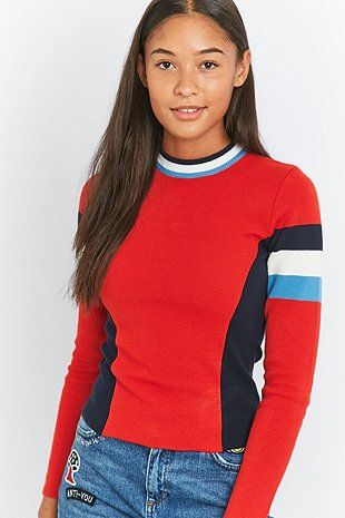 Urban Outfitters Red Colourblock Ski Jumper - Urban Outfitters