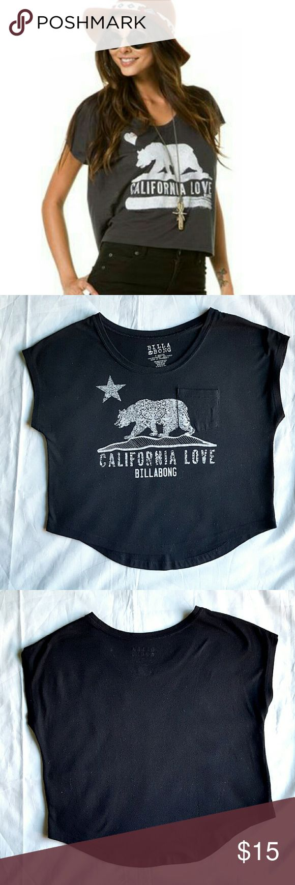 Billabong crop top Black California Love crop top. Loose fit, front pocket, artistic decorative bear and star in white. Preloved in really good condition.  *the cover photo is not the actual top, but very similar,  posted for style purpose only. Billabong Tops Crop Tops
