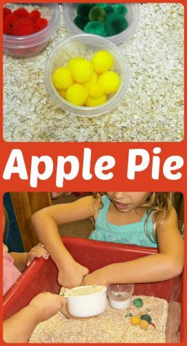 Apple Pie Sensory Play in Preschool from www.fun-a-day.com -- An easy-to-set-up sensory bin that's great for an apple theme (or even just for fun)!