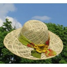 Fair Trade hat - for a Great Garden Day.  Handcrafted of sundried raffia palmleaves and textile scrap.
