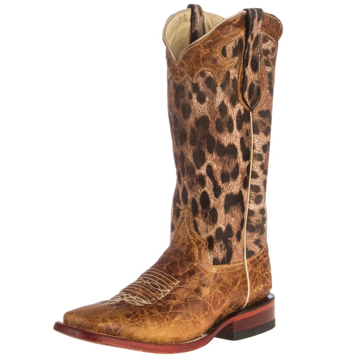 "Shop Women's Ferrini Brushed Tan and 13"" Leopard Print Top Cowgirl Boot"
