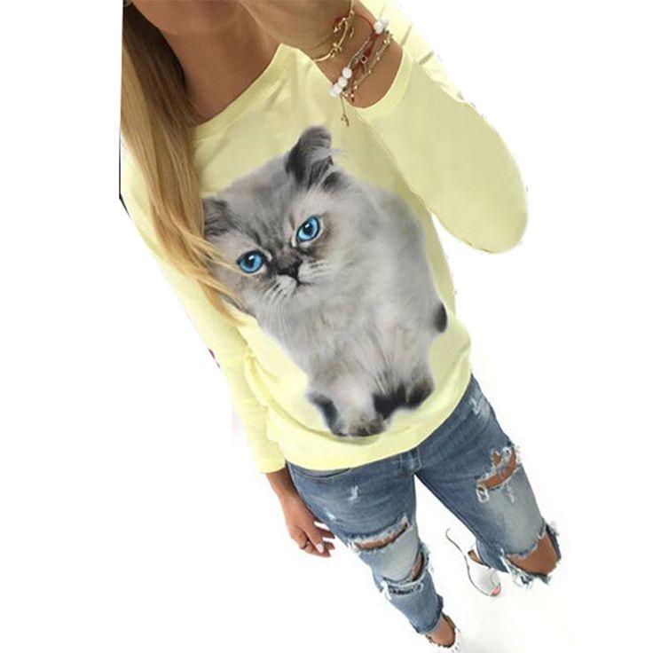 Cheap Moda otoño largo de la manga de la camiseta del patrón del gato Poleras Mujer mujeres Tops T Shirt Femme, Compro Calidad Camisetas directamente de los surtidores de China:            Las mujeres de manga larga Cat Patrón de la blusa floja Tops camiseta             Nota: ¡ Compare