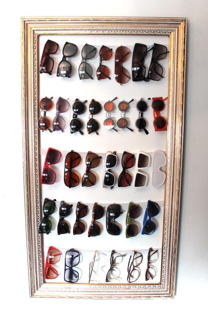 Sunglass storage on an old frame.