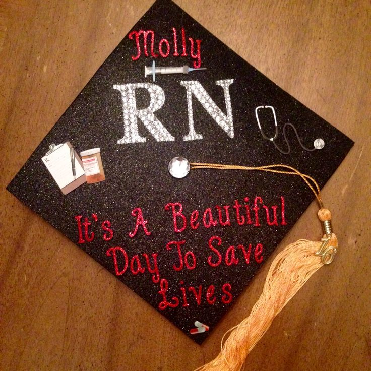 "2016 BSN Nursing Graduation Cap #RN #newgrad Grey's Anatomy inspired ""It's a beautiful day to save lives"""