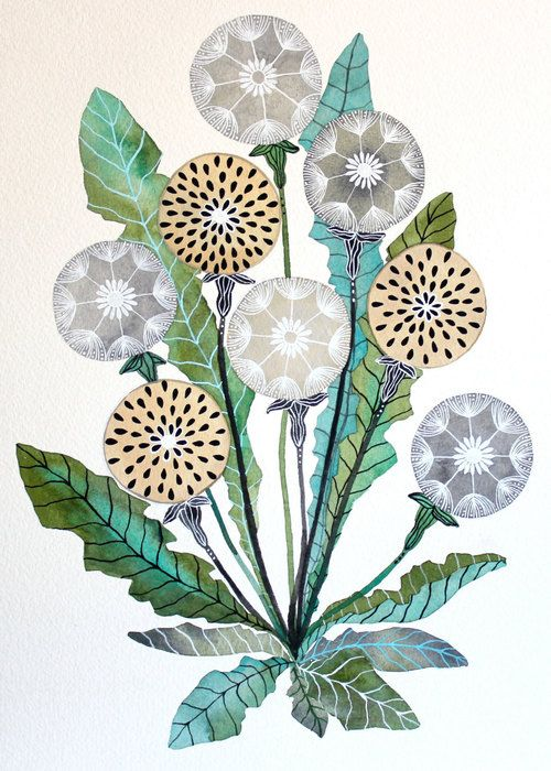 canvaspaintings: Dandelion Watercolor Painting - Nature Art -...