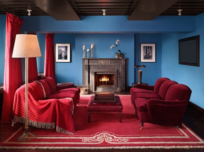 A Fourth Option For Accent Wall And Sofa Cover Is Blue Wall, Burgundy Couch    Not These Shades Or Tones; Match The Bridge Picture. Design
