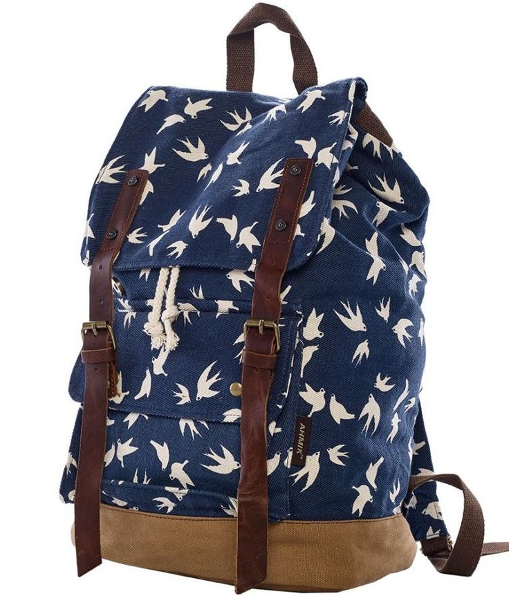 Floral Canvas School Backpack