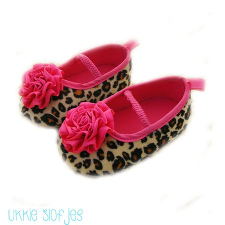 meisjes slofjes schoenen ballerina's babyslofjes babyschoenen luipaard roze
