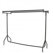 "Double Clothes Rail with Wheels - 6' Wide 5'3"" High - Black Finish"