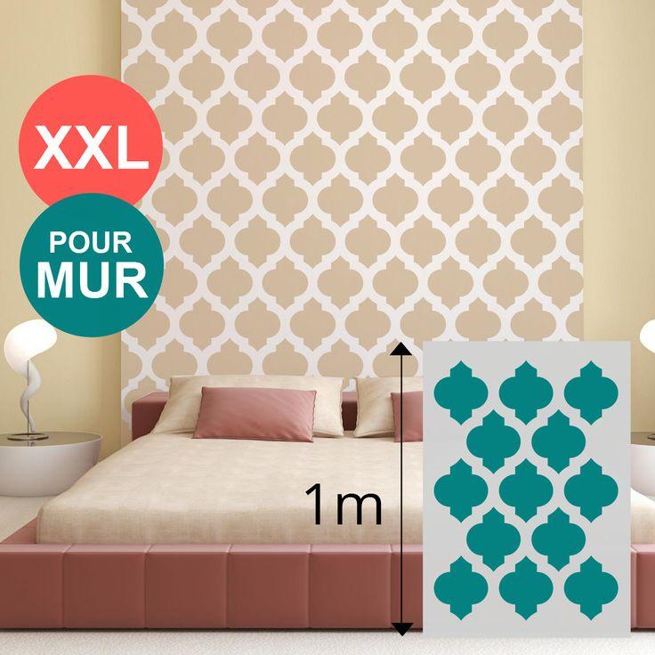 Les 25 meilleures id es de la cat gorie motif marocain sur for Pochoir mural xxl