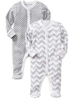 Patterned Footed Sleeper 2-Packs for Baby | Old Navy My favorite baby pjs, much thicker than Carters. I bought these in a million colors and sizes. Really preferred snap PJs to zip PJs for little ones.