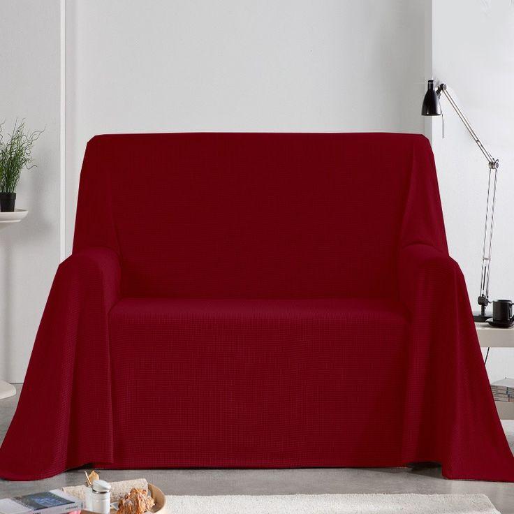 Fundas Foulard de Sofá Burdeos, funda perfecta para cubrir sofás de 1 plaza, 2 plazas y 3 plazas de forma fácil y sencilla, tejido rústico con color liso para decorar el sofá del salón.