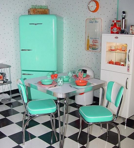 1950s Kitchen - from our old retail store. Dinette set available at retroplanet.com - aqua fridge, retro orange wall clock and checkered flooring. Originally posted at our Instagram page - http://www.instagram.com/retroplanet                                                                                                                                                     More