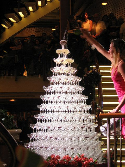 Champagne fountain. (Instead of cutting cake pour wine together!)