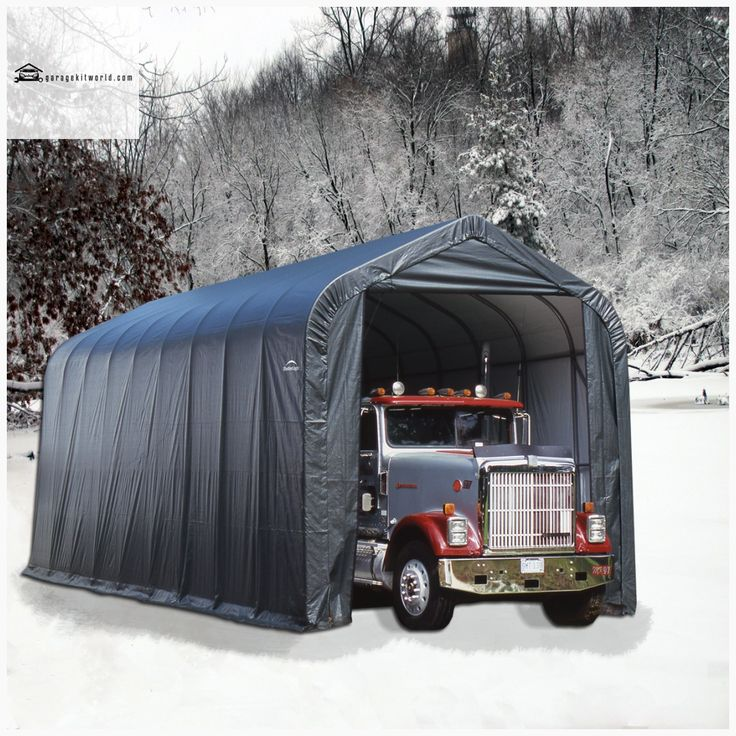 ShelterCoat Gray 15 x 24 Peak Portable One Car Garage ...