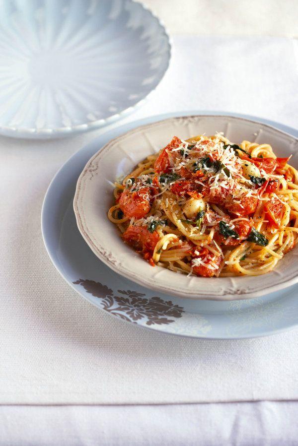 Spaghetti met gebarste tamaties, Gaar en op die tafel binne 30 minute