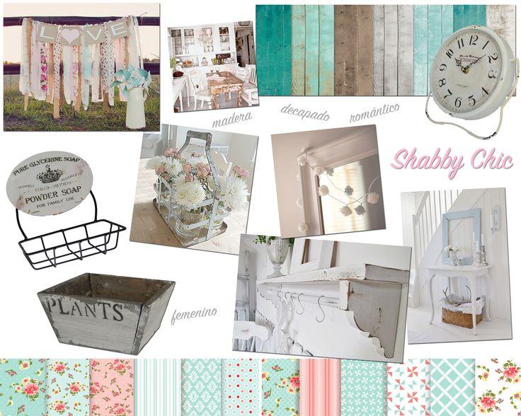 Shabby chic.  Romántico, femenino. Se destacan los colores claros, las maderas pintadas y decapadas, lo vintage.