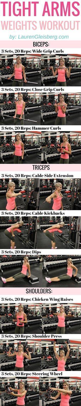 TIGHT ARMS WEIGHT TRAINING WORKOUT #LGBeautyAndBooty Challenge Week 2, Day 2 - LaurenGleisberg.com