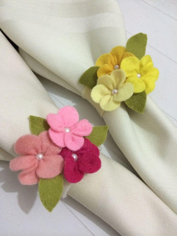 Porta guardanapos feltro flores