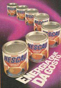 Nescau (1988) A lata clássica do Nescau (pelo menos para mim) no estilo bumerangue com o slogan criado nos anos 70 e incrivelmente utilizado até hoje.