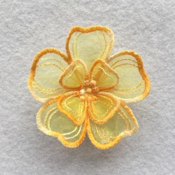 3pcs YELLOW 3D Crochet Bell Flowers Leaves Cotton Applique Embellishment