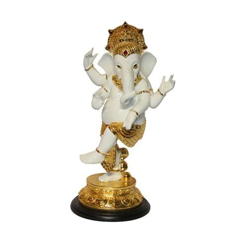 Dancing Ganesh / Pagdi, Marble look with Colored Electroplating , made of Polystone.