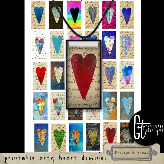 GTPD PRINTABLE ARTY HEART DOMINO SIZE IMAGES