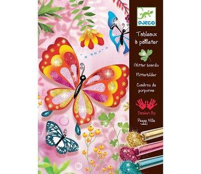 Hobbysett, fargelegg med glitter, Butterflies